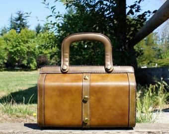 1960's Olive Green Leather Calderon Studded Speedy Bag