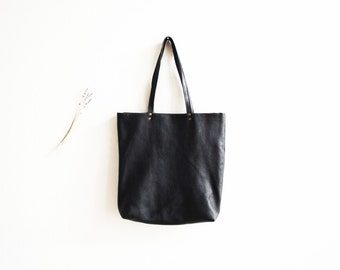 Black Large Leather Tote Bag | Shoulder Bag | Casual High Fashion Purse | Market Leather Shopper Bag...Ready to Ship