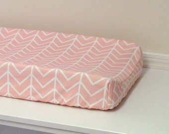 Changing Pad Cover - Pink Chevron - Contoured - Pink and White, Baby Girl Nursery