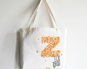 "Personalized ""Z"" for Zebra - Reusable Tote Bag"