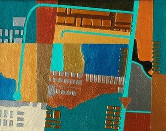 North, mixed-media/acrylic on canvas, map art