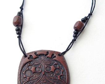 Braun Polymer Clay Pendant, Polymer Clay Jewelry, boho style, ladybug pendant, rustic, braun pendant