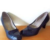 vintage 50s Florsheim womens pumps heels peep toe 8