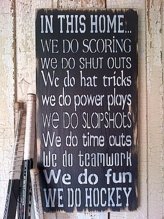 In This Home .... We do Hockey completely handpainted wooden sign in Black and White by Dressingroom5