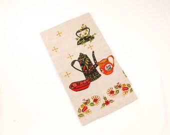 Vintage Towel Pennsylvania Dutch Pattern - Red, Brown, Tan - Tole Scandinavian Design -  Kitchen Dish Towel - Unused MWOT Hardy Craft