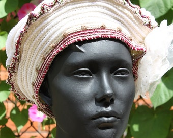 White Crochet Hat with Some Metallic Yarn & Two Organza Hand-Made Flowers...