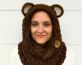 Bear Cowl Circle Scarf Hood in Chunky Chocolate Brown Yarn, Reversible with two Textures and a Natural Coconut Button