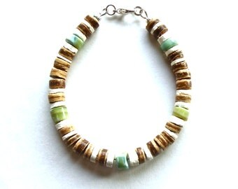 Mens Bracelet Coconut Shell Bead Surfer Jewelry Semi Precious Gemstone Bracelet October Birthstone - Green, White and Blue Opal Bracelet