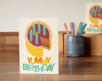 Birthday Card Cake and Candles Illustration Greetings Card