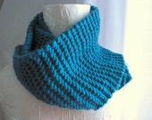Jewel Turquoise Long Knit Simple Chunky Cowl Warm Autumn Winter Layers One Size Fits All