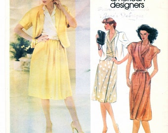 Vintage Vogue Sewing Pattern 2714 John Anthony Misses JACKET SKIRT BLOUSE with Kimono Sleeves Womens Size 14 - Vogue American Designer