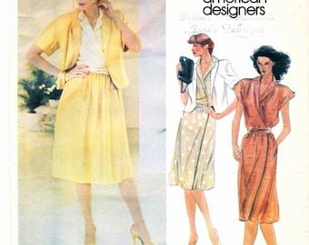 "Vtg. Vogue Pattern  2714 - American Designer John Anthony Misses JACKET SKIRT BLOUSE w Kimono Sleeves Summer Casual  Womens Size 14 Bust 36"""