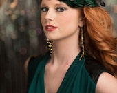 Downton Abbey, Great Gatsby, 1920s Headpiece, 1920s Flapper, Daisy Buchanan, Art Deco Flapper Headband, Green and Black Feather Headband