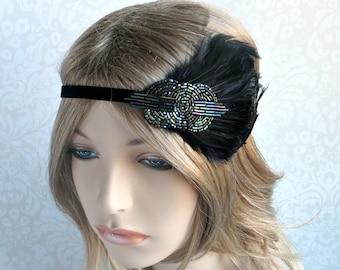 Great Gatsby Headband, Downton Abbey, Flapper Headband, Art Deco Beaded Headband, Vintage Inspired Feather Headband, Green 1920s Headpiece