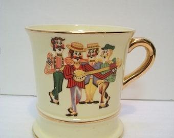 Vintage Music Box Mug, Enesco Imports Music Box Coffee Mug/Vase, Vintage Decorating, Ceramic Music Box, Gold Trimmed Mug, Old Time Music Box