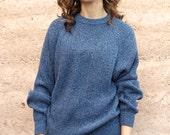 vintage 90s blue & black textured grunge SLOUCHy warm sweater
