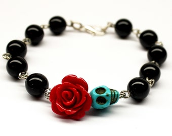 Original Day of the Dead Black Obsidian Red Rose Frida Flower Jewelry Turquoise Sugar Skull Bracelet