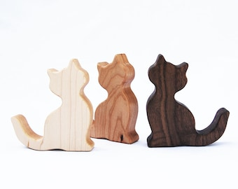 Wooden Cat Baby Rattle // Organic Baby Teether and Natural Rattle Toy in One // Safe For Sensitive Baby // Kitty Themed Nursery Room