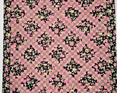 Twin Pink and Black Floral Double Irish Chain Quilt