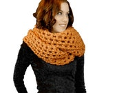 Honey Gold Oversized Chunky Scarf, Wool Blend Wide Scarf, Crocheted Infinity Scarf,  Winter Accessories