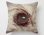 Spring Robin Bird Nest Pillow, Bird Nest Pillow Cover, Woodland Pillow, Photo Pillow