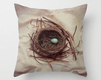 Spring Robin Bird Nest Pillow Cover, Bird Nest Pillow Cover, Woodland Pillow Case, Photo Pillow Cover