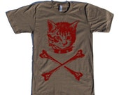 mens kitten crossbones shirt- American Apparel army- available in S,M,L,XL,XXL- Wordwide Shipping