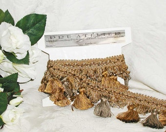 Amber/Pewter BrimarTassel Trim 2 Pieces Available - Perfect For an Elegant Tree Skirt, Runners, Pillows, Stockings