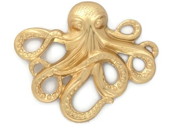 Raw Brass Octopus Kraken Cthulhu Stamping from Vintage Tooling Perfect for Steampunk Art Made in the USA Brass