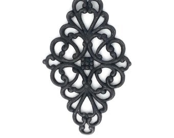 Diamond Filigree Victorian Style Connector Bail Black Brass Stamping 44mm x 26mm- Qty 1 One Made in the USA