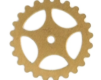 Steampunk Large Gears in Golden Raw Brass 25mm Qty 4 Lot Assemblage Altered Art Made in the USA