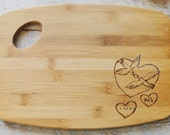 Personalized Cutting Board  Wood burned Dove and Hearts