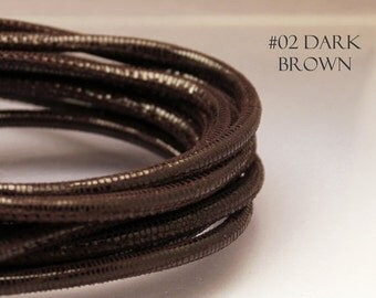 1 foot brown leather cord 4mm Round leather cord Brown Nappa leather Lizard print cord Brown cord 4mm Brown 4 mm cord leather for bracelet