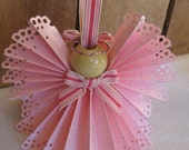 Pink Angel Christmas Ornament U-Pick Trim Color Pink Paper Ribbon Angel Angel Tree Ornament SnowNoseCrafts