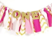 Pink and Gold Girl's Birthday Party - Rag Banner - Photography Prop