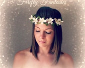 Woodland Wedding - White or ivory Flower girl Crown Halo Bohemian Bridal Hair piece Beach rustic chic
