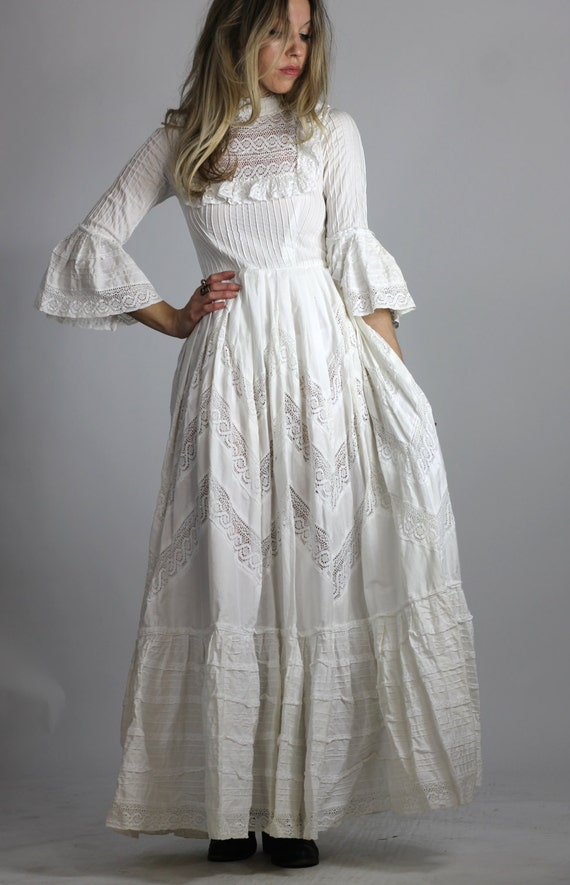 Vintage 60s Mexican Wedding Dress White Victorian Style Maxi