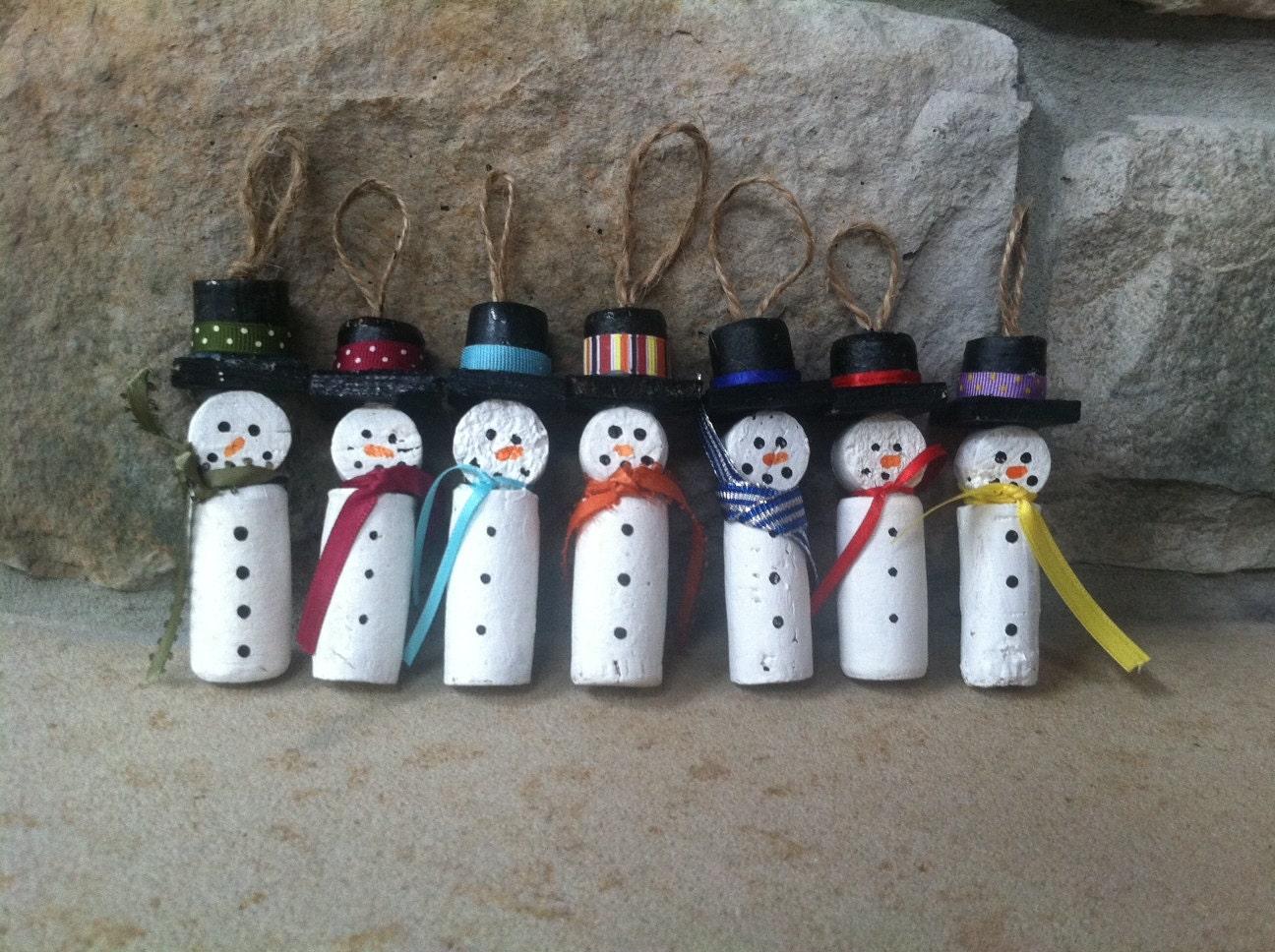 Wine Cork Snowman Christmas Ornament by Amazingknits on Etsy