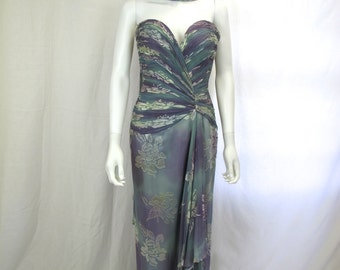 1990s Silk Chiffon Strapless Evening Gown