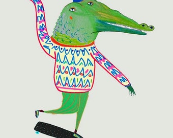 Crocodile Skateboarder Print for Kids, Children Wall Art Print