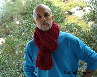 Hand-knitted red bulk long scarf for men and women. unisex. Handmade. Winter accessory.