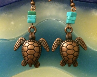 Turquoise and copper Sea Turtle Earrings