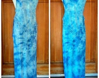 Vintage Boho Halter Top Wrap Skirt Tie Dye 2 pc set Fringe Halter Top Embroidery India Festival Set  Small 32B  34W