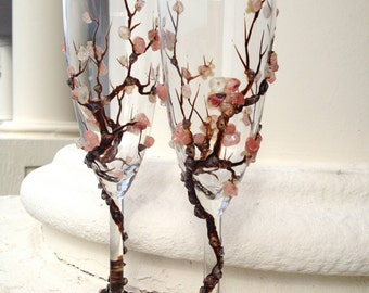 Cherry blosom champagne glasses in dark brown and blush pink, Sakura design wedding, spring pink and brown toasting flutes, dishwasher safe