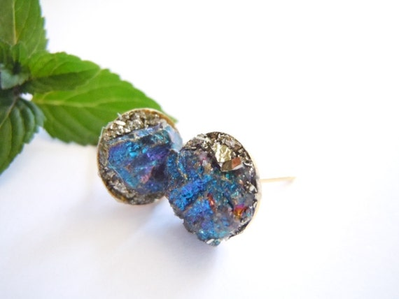 Items similar to Chalcopyrite and Pyrite Stud Earrings ...