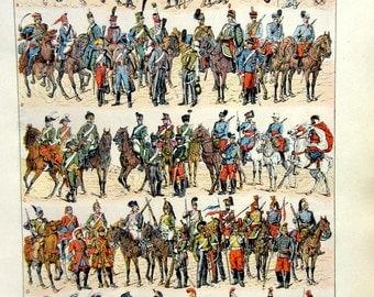 1923 Antique military Cavalry uniforms lithograph, original  vintage art military history print, larousse dress Armor weapons engraving.