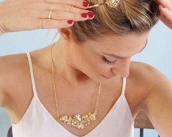 Gold Flower Hair Band - Gold Bridal Hair Band - Wedding Hair Accessory - Bridesmaids Hair Jewelry - Wedding Hair Piece - Bridesmaid Gift