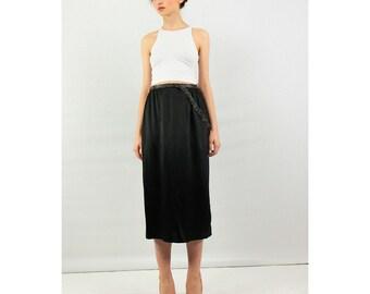 Black pencil skirt / Midi skirt / Vintage high waisted silk skirt with beaded details S
