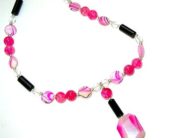 Pink & Black Beaded Pendant Necklace, Hand Made in the USA