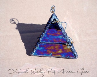 Beautiful Color Shifting Iridescent Black Pyramid Box with Glass Beads and Artistic Solder Work